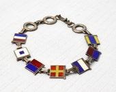 """Nautical Sterling Silver Bracelet: Marine Signal Flag """"Dearest"""" Enamel WWII"""