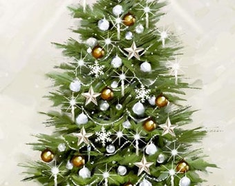 White Christmas Tree and Baubles 100% Cotton Quilting Fabric Panel Northcott