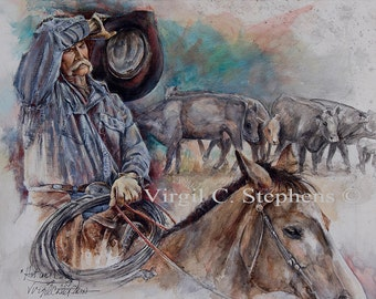 Cowboy Art, Hot And Dry, print of a cowboy out on his ranch, with the cattle in the background. Ranch cowboy, cattle, round up, branding