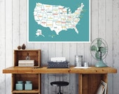 SALE USA Map, Usa Travel Map, United States of America Map, Travel Decor, Travel Art, Usa Print, Map of Usa, Wedding Gift, Baby Shower, Blue