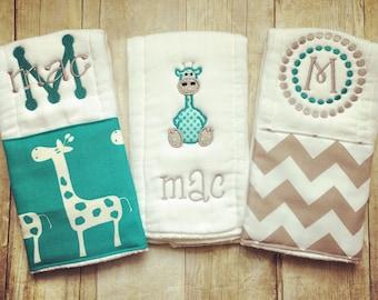 Personalized baby burp cloths - safari giraffe