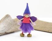 Small bendy fairy doll, miniature fairy doll, flower fairy, little purple fairy, stand alone fairy, fairy girl, dollhouse doll, garden fairy