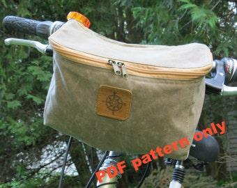 Sewing pattern, bicycle bag pattern, PDF pattern, handlebar bag pattern, bike bag pattern, craft pattern, canvas bike bag pattern