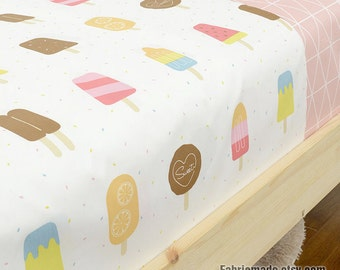 Pastel  Ice Lollies Fabric, Cute  Ice Lolly Cotton Kids Children Cotton Fabric- 1/2 Yard