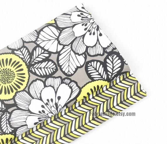 Yellow White Flower Cotton Fabric, Large Flower Cotton Fabric - A half yard