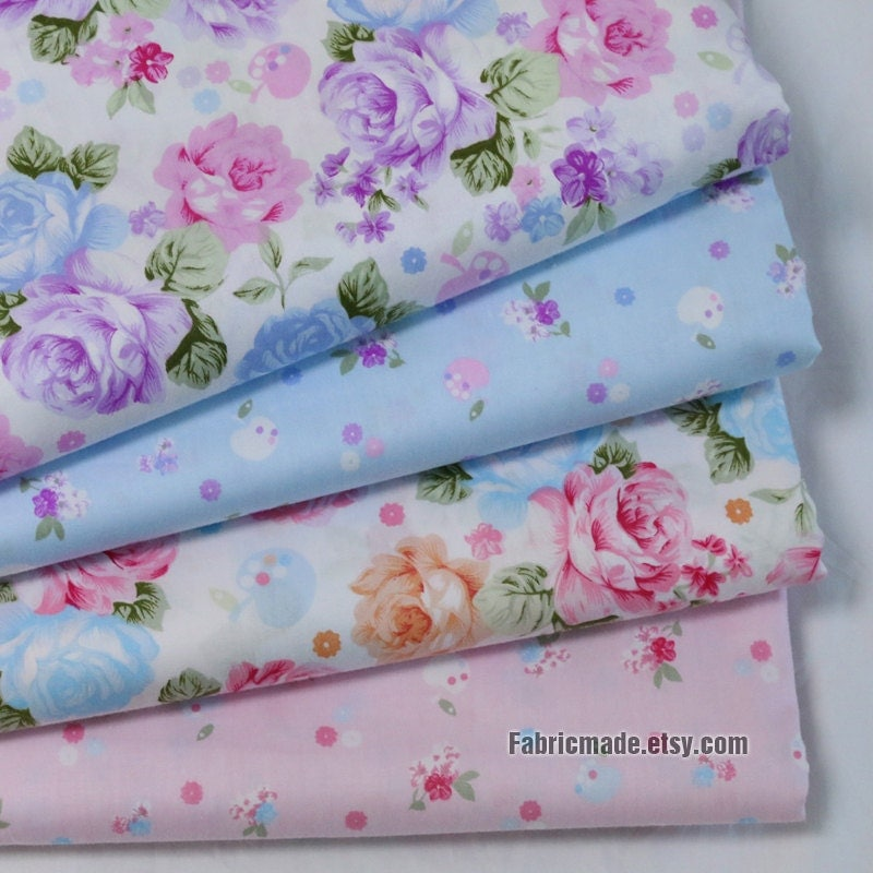 Flower cotton fabric purple pink floral on baby pink blue for Purple baby fabric