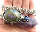 the faerie hill - rainbow labradorite & amethyst crystal - raw crystal pendant