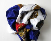 """Vintage Hermes Style Scarf, Jewel Tones, Crowns, Coat of Arms, Woman's Accessory, 34"""" x 34"""", gift idea"""