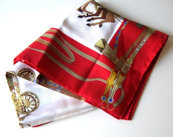 """SALE, Vintage Gucci Equestrian Silk Scarf, Handrolled hem, Headless Horsemen, red and white, 34"""" x 34"""", Made in Italy, gift idea"""
