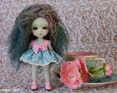 Lati Yellow and Pukifee doll sized short length tilda fabric dress