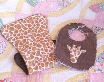Giraffe Bib and Burp Cloth Set