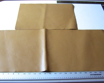 Two Piece Matte Tan Leather Lot, Small Project, Leather Scraps for Repairs, Leather Patches, Wallets and Key Fob Leather