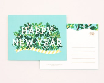 8 Holiday Postcards Set - Happy New Year