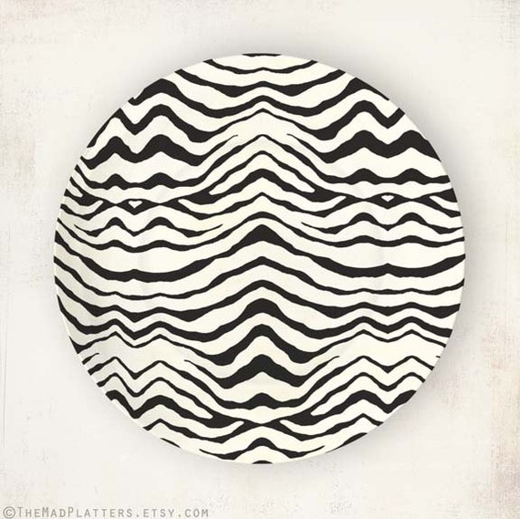 Black Zebra stripes I melamine plate