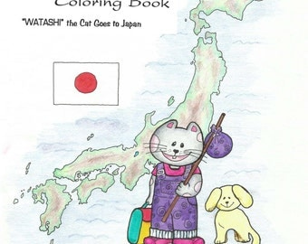 "Japanese coloring book ""Watashi"" the cat goes to Japan, PDF file, Printable 15 pages, Learning Japanese culture, Kimono and Japanese art"