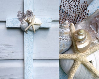Seashell Cross on Reclaimed Wood/Beach House Decor/Beach Wedding Cross