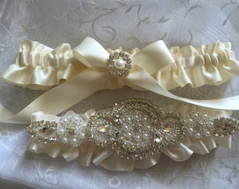 Wedding Garter, Bridal Garter, Garter Set - Crystal Rhinestone & Pearls on a Ivory satin ribbon.