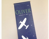 children's growth chart, airplane theme, Planes, Personalized canvas growth chart, for boys