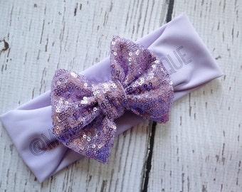 Lavender sparkly Bow-Head wrap- Girl Turban-Baby Boho headband- Sparkle Turban- Lavender Headband- Sparkle  Head wrap