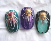 Czech  Glass  Buttons  3 pcs   Gorgeous XL scarab CICADA     40 mm  special order for  cicadasymphony's Profile
