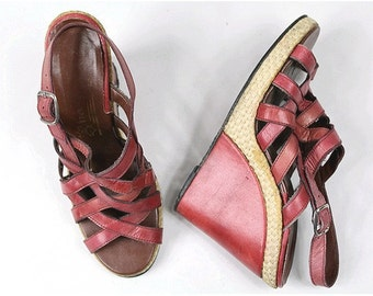 1970 Salamander Wedges sandals cord & red leather  euro36 us5