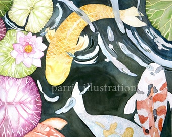 Koi Pond No.1, Archival Print of Original Watercolor, you choose size