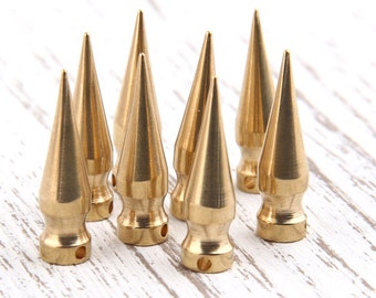 Raw Brass Spike Charms, Spike Pendants, 7x26 mm, Industrial Jewelry Findings, 8 pcs // RAW-040