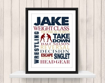 ONSALE Wrestling  Word Art Print - Custom Colors -  Wrestler Print