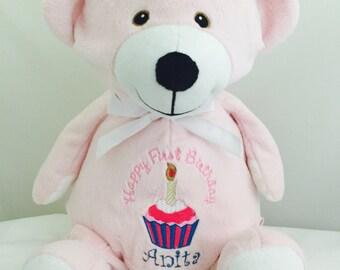 Personalized PINK Teddy Bear - Monogramed Teddy Bear - birth announcement - first Love - Embroidered Teddy Bear - Valentine's teddy bear