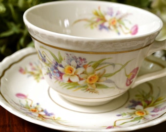Warwick China Tea Cup and Saucer, Creamy White Floral, Gold Gilt, U.S.A.