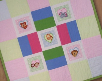 Jungle Animal Heart Peekers Recieving Blanket or Wall Hanging
