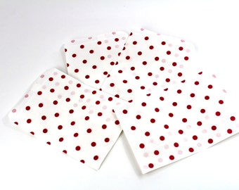 50 6x9 Red Polka Dot Paper Gift bags, Merchandise Bags, Gift Bags Bags, Wedding Favor Party Bags, Graduation Gift Bags, Graduation Party Bag