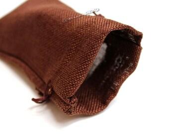 "60pcs ~Dark Burlap Organza bags -4x7"" w/Drawstring, Vintage Gift Bags, Wedding Favor Drawstring Sacks, Party Gift Bags, Jute Bags"