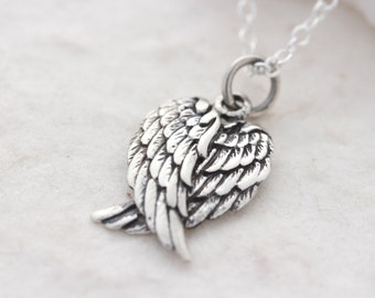 Angel Wing Necklace, Sterling Silver Angel Wing on sterling silver chain Choose your chain. Silver Wing Necklace. angel Wing Jewelry