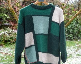 SWEATER SALE--Retro Sweater, Color Block Green, 1980s