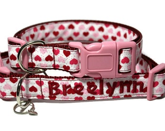 Valentines Day Dog Collar, Glitter Heart Dog Collar, Custom Dog Collars, Valentine Collars, Glitter Dog Collar, Cute Collar for Dogs