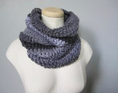 Crochet Grey, Gray, Charcoal, Pale Gray Striped Scarf, Cowl, Neck Warmer, Men's Scarf, Women's Scarf, Unisex Scarf