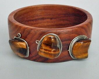 Wood Bracelet with Three Tiger Eye Gemstones