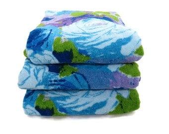 Vintage Bath Towels - Towel Set - Blue Purple Floral Towels - 1960s Towels -  Glamper Glamping Towels - Free Shipping -6OTT16
