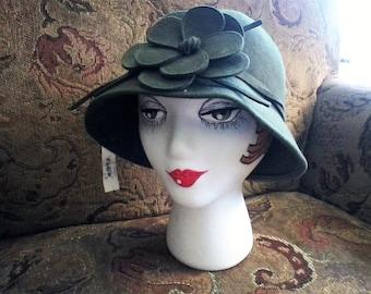 Olive Green Wool Cloche
