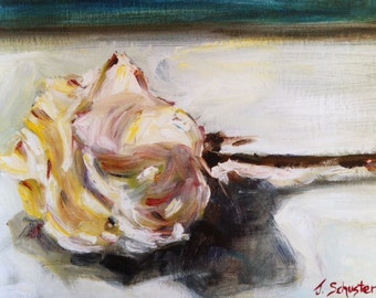 Print of original oil painting, Wilting White Rose