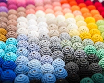 """Crochet beads 25 PCS 3/4"""" 20 mm  Wooden crochet cotton beads Crocheted bead Round beads Necklaces"""