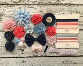 DIY Headband Making Kit - Spring 2016 Colors of the Year Powder Blue, Powder Pink, Navy / Denim, and Coral MAKES 12 HEADBANDS + 1 Hair Clip!