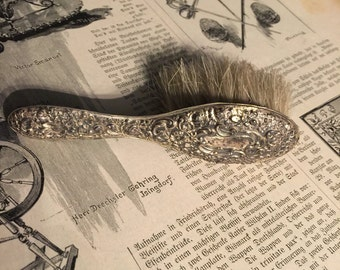 Victorian STERLING SILVER BABY Brush Natural Bristles Ornate Floral Motif