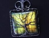 Labradorite Tree of life pendant ''Arizona'' Hand made Sterling silver jewelry - Yggdrasil - Anniversary - Birthday - Family tree - present