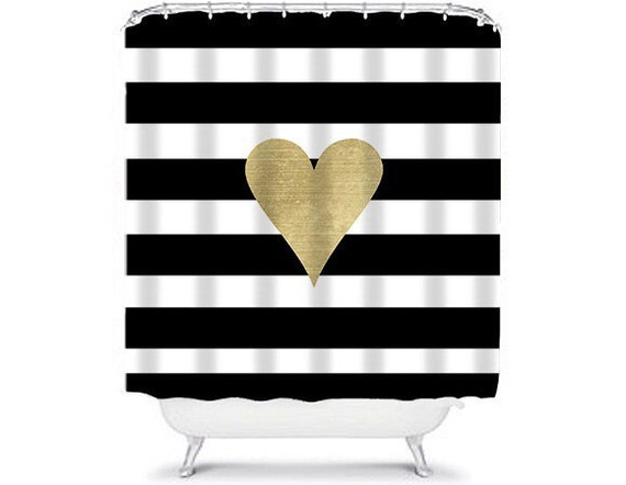 Items Similar To Faux Gold Heart Black And White Striped Shower Curtain On Etsy