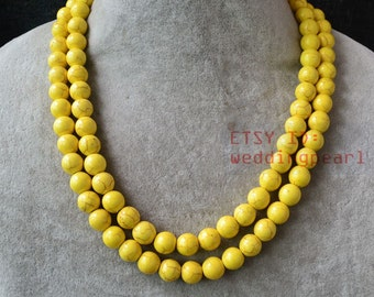 yellow necklace,double strand turquoise necklace, yellow turquoise necklace,statement necklace,man-made turquoise necklaces,wedding necklace