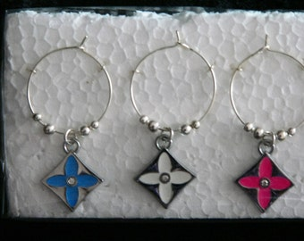 Set of 6 Silver Square Coloured Enamel Flower Wine Glass Charms with silver adjoining beads