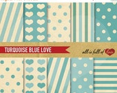 80% off Turquoise Digital Paper Valentines Patterns Blue Digital Scrapbooking Retro Collage Sheet Print Valentines Paper Kit Valentines grap
