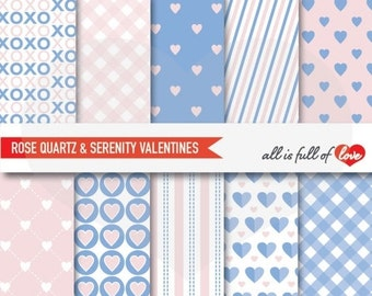 VALENTINES Digital Paper Set PANTONE 2016 colors Background Patterns Rose Quartz Serenity Blue Scrapbooking papers to print Hearts